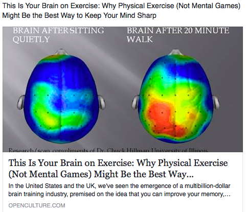 Two brain: One 20 minutes after exercise